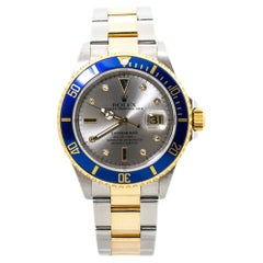 Rolex Submariner 16613 Slate Serti Dial 18K Mens Watch Box&Papers