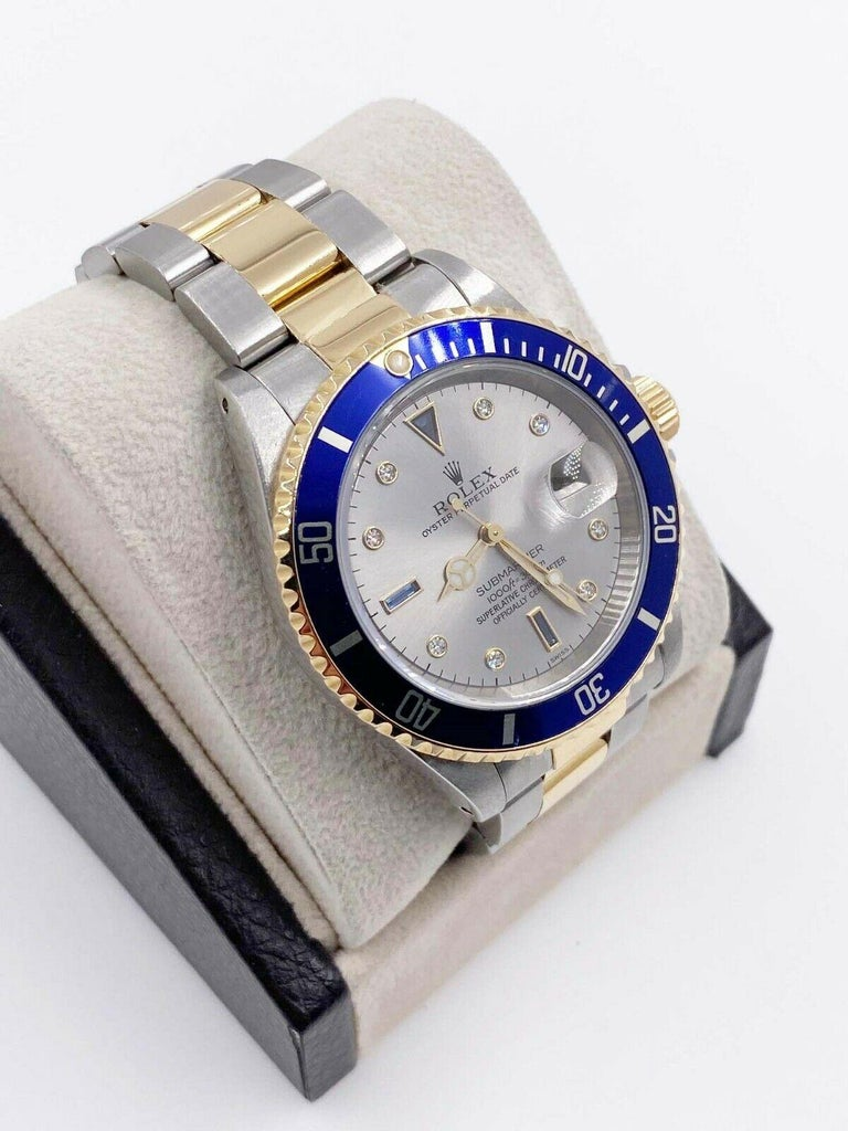 Rolex Submariner 16613 Slate Serti Dial 18 Karat Yellow Gold Steel Box Papers For Sale 1