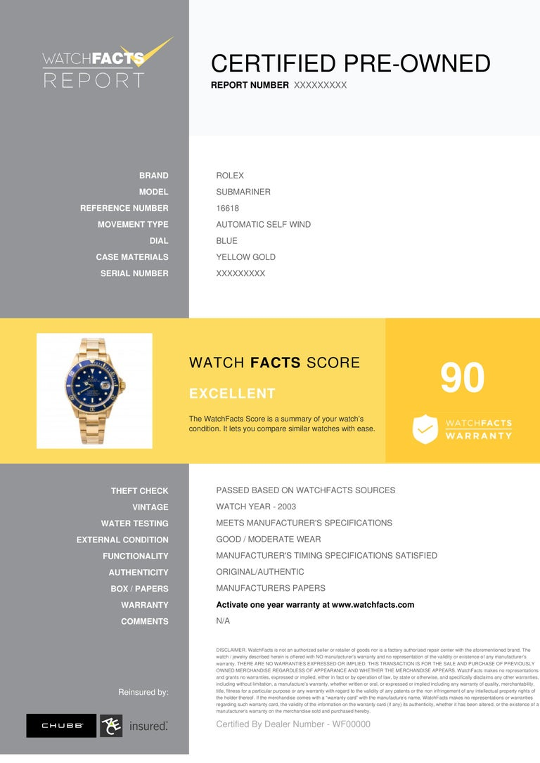 Rolex Submariner Reference #:16618. Rolex Submariner 16618 Men Automatic Watch 18k YG Blue Dial W/Papers 2003 40mm. Verified and Certified by WatchFacts. 1 year warranty offered by WatchFacts.