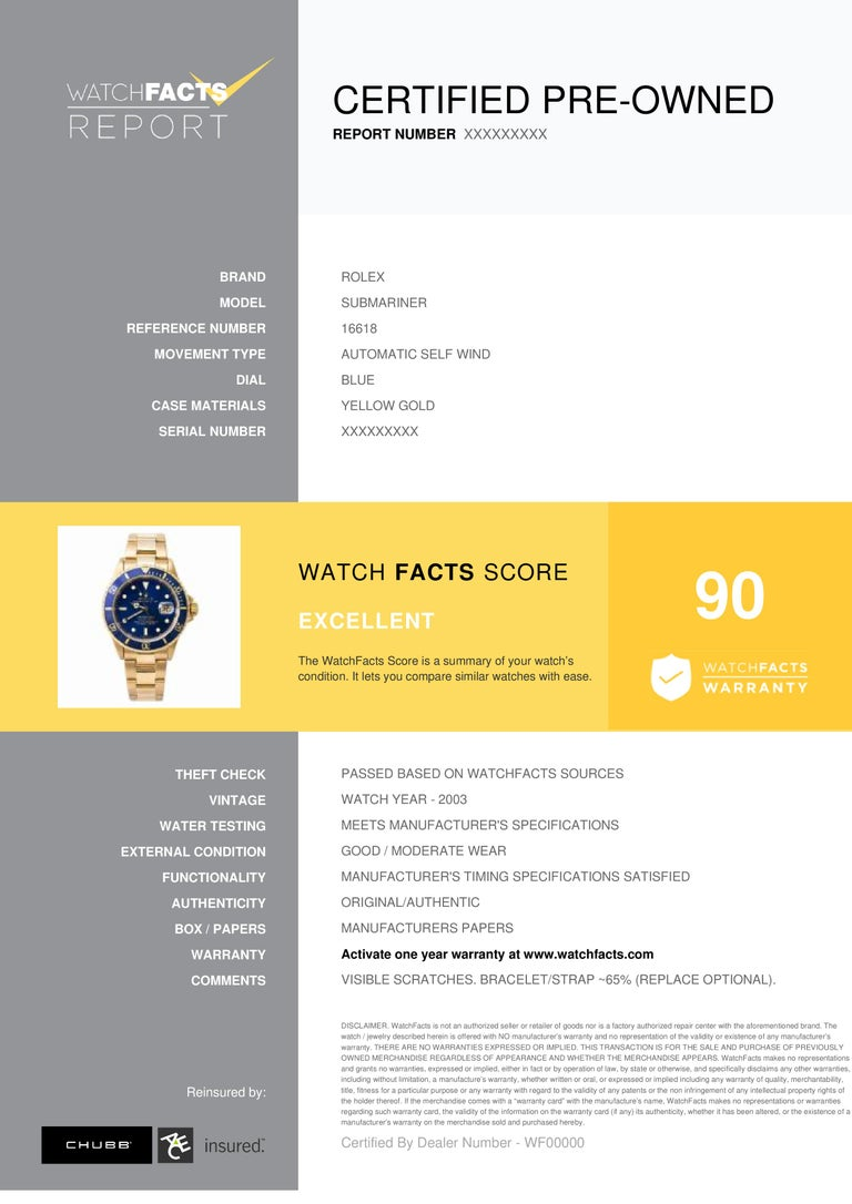 Rolex Submariner Reference #: 16618. Mens Automatic Self Wind Watch Yellow Gold Blue 40 MM. Verified and Certified by WatchFacts. 1 year warranty offered by WatchFacts.