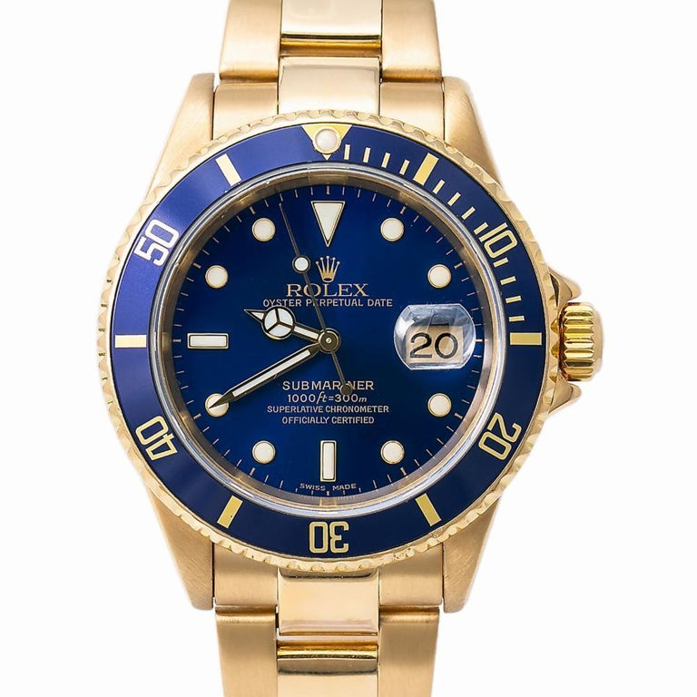 Men's Rolex Submariner 16618, Blue Dial, Certified and Warranty For Sale