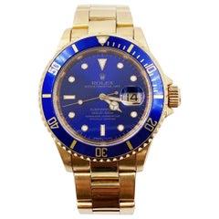 Rolex Submariner 16618 Blue Dial 18 Karat Yellow Gold Unpolished