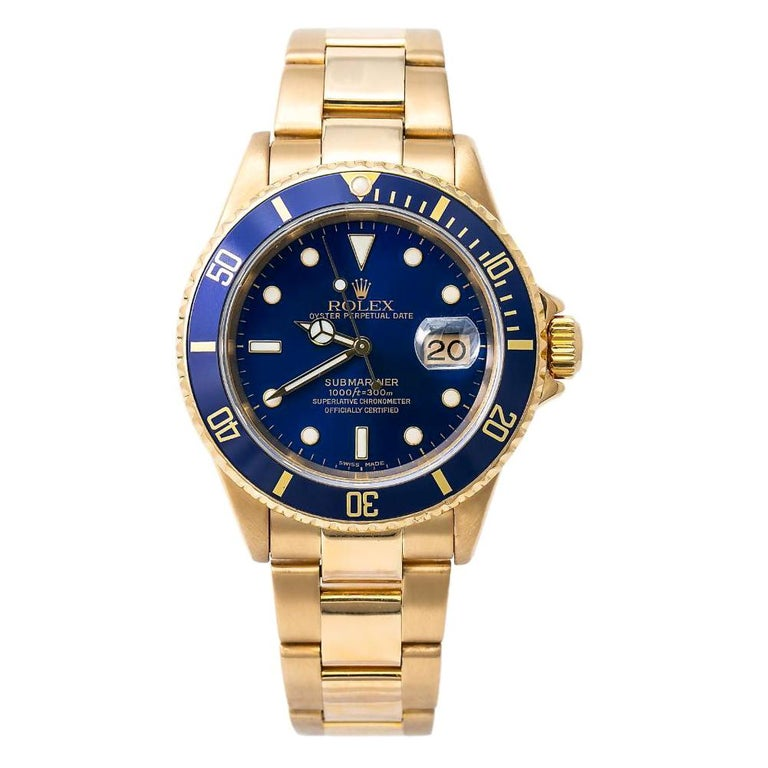 Rolex Submariner 16618, Blue Dial, Certified and Warranty For Sale