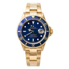 Rolex Submariner 16618 Men Automatic Watch 18k YG Blue Dial W/Papers 2003 40mm