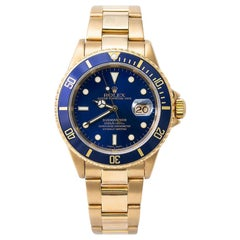 Rolex Submariner 16618 Men's Automatic Watch 18k YG Blue Dial with Papers, 2003