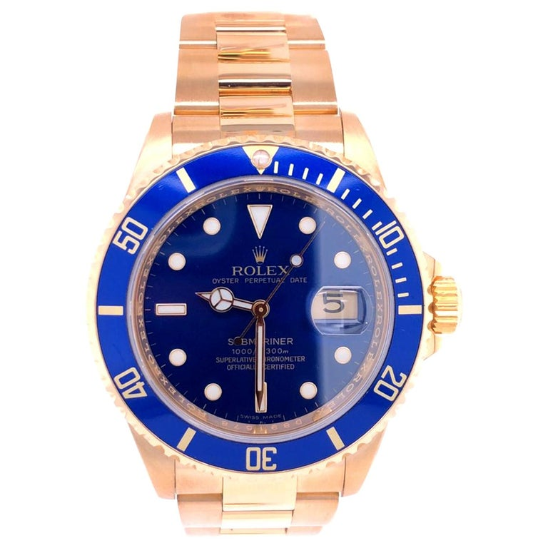 Rolex Submariner 16618 Oyster 18k Yellow Gold Blue Sunburst Dial Men's Watch For Sale