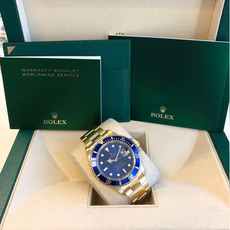 Rolex Submariner 16618 Oyster 18k Yellow Gold Blue Sunburst Dial Men's Watch For Sale 9