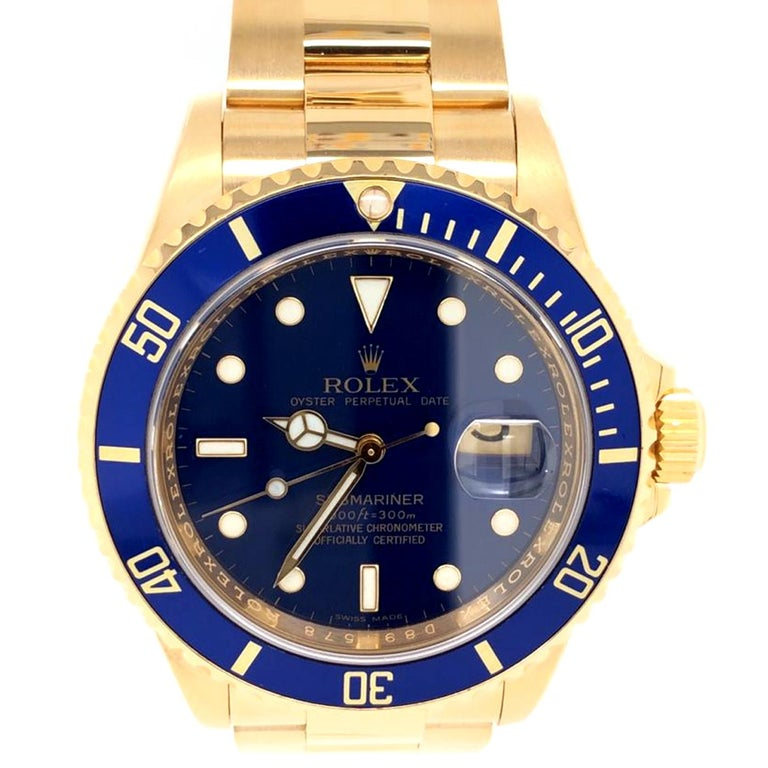 This Rolex Submariner has been polished and is in great cosmetic and mechanic condition, Blue Dial with Luminescent Hour Markers, Sweep Second Hand, Date Indicator, Quickset Movement, Rotating Drivers Bezel and Sapphire Crystal, Matching 18K yellow