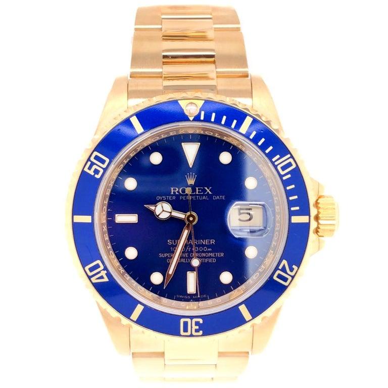 Modernist Rolex Submariner 16618 Oyster 18k Yellow Gold Blue Sunburst Dial Men's Watch For Sale