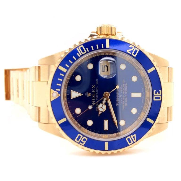 Rolex Submariner 16618 Oyster 18k Yellow Gold Blue Sunburst Dial Men's Watch For Sale 3