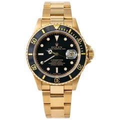 Rolex Submariner 16618 X-Serial Men Automatic Black Dial Watch 18 Karat Gold