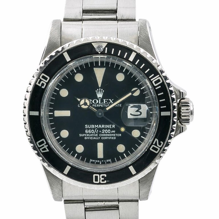 Men's Rolex Submariner 1680, Black Dial, Certified and Warranty For Sale