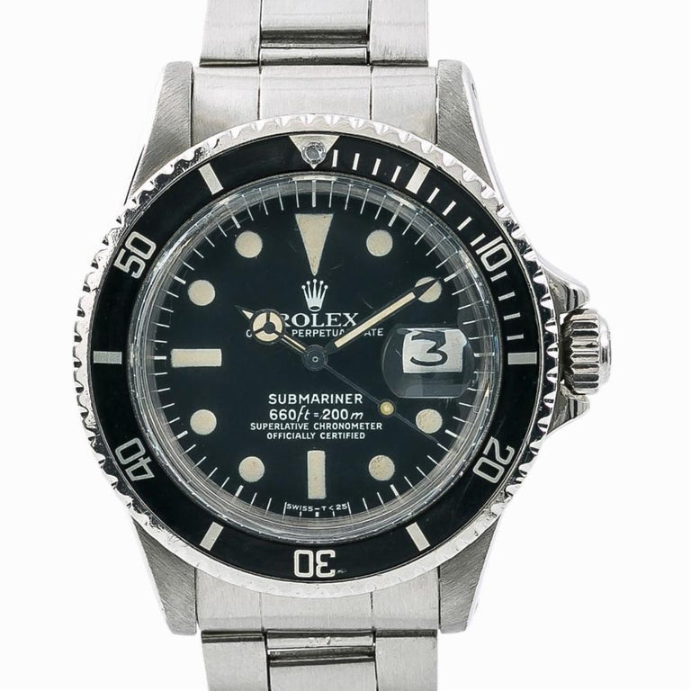 Rolex Submariner 1680, Silver Dial, Certified and Warranty In Good Condition For Sale In Miami, FL