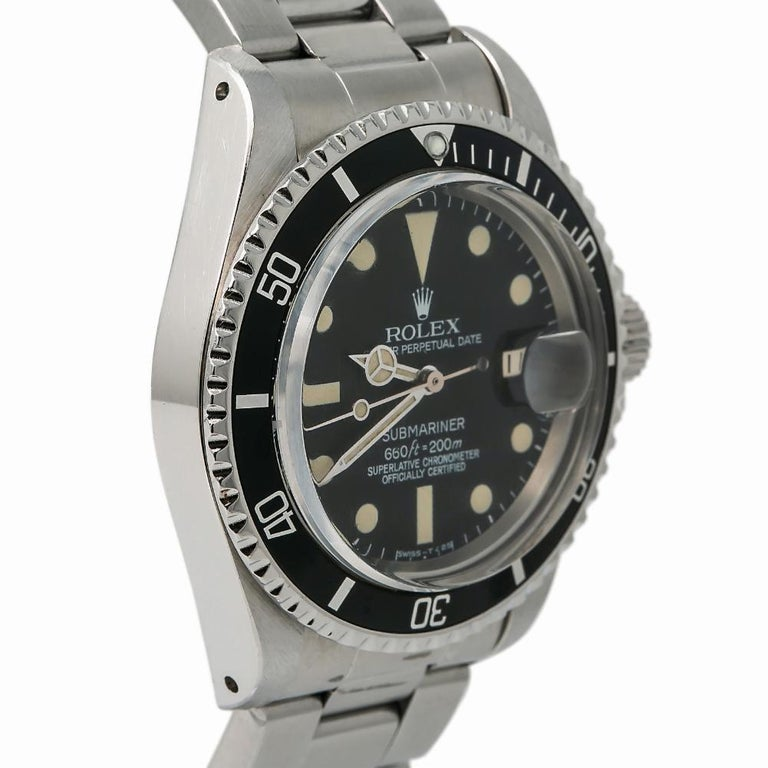 Contemporary Rolex Submariner 1680, Black Dial, Certified and Warranty For Sale