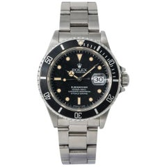 Rolex Submariner 16800 Automatic Men's Watch Stainless Patina Black Dial