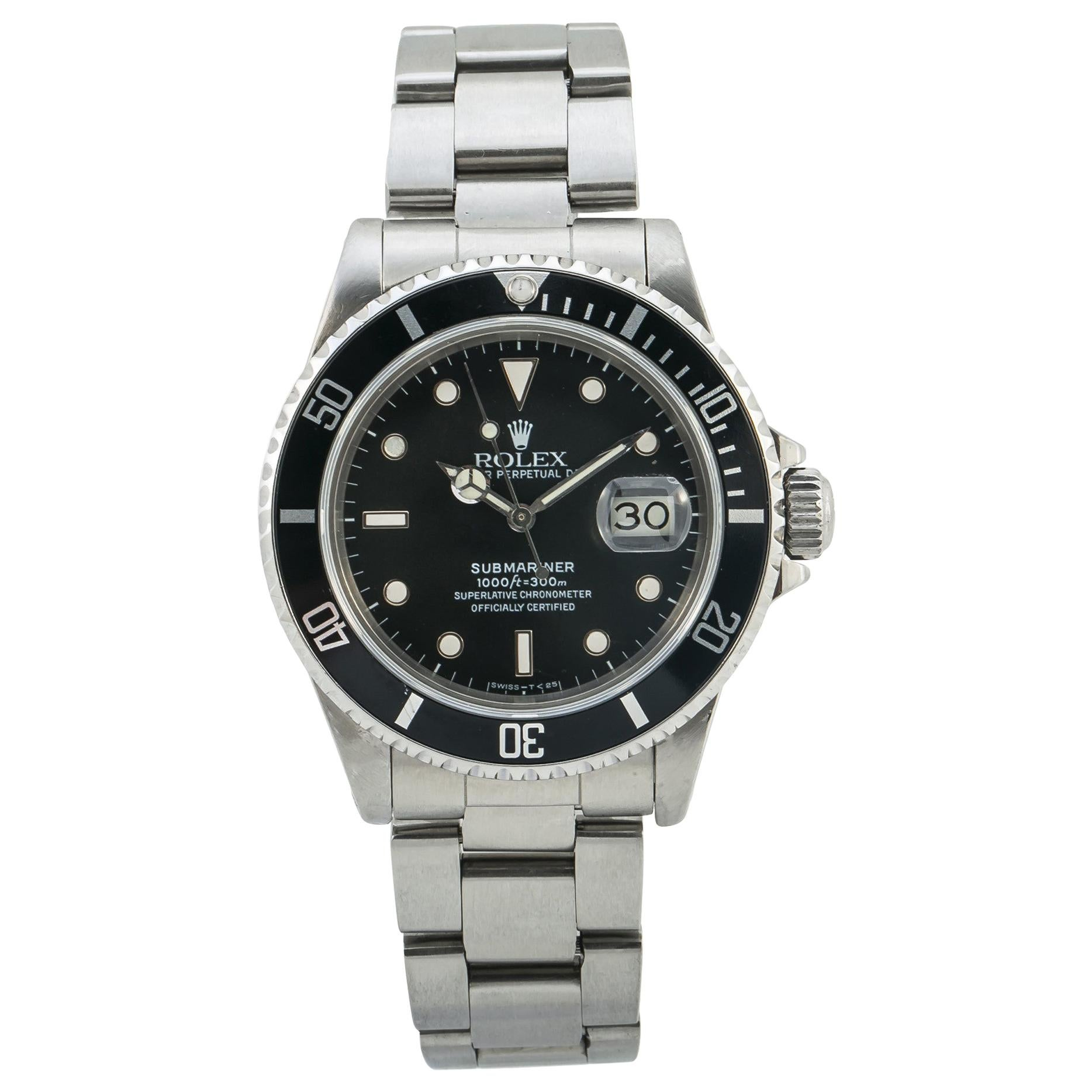 Rolex Submariner 16800, Black Dial, Certified and Warranty