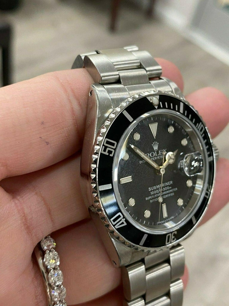 Rolex Submariner 16800 Black Spider Web Dial Stainless Steel In Excellent Condition For Sale In San Diego, CA