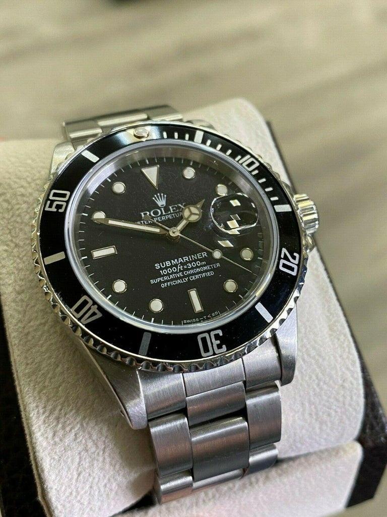 Men's Rolex Submariner 16800 Black Spider Web Dial Stainless Steel For Sale