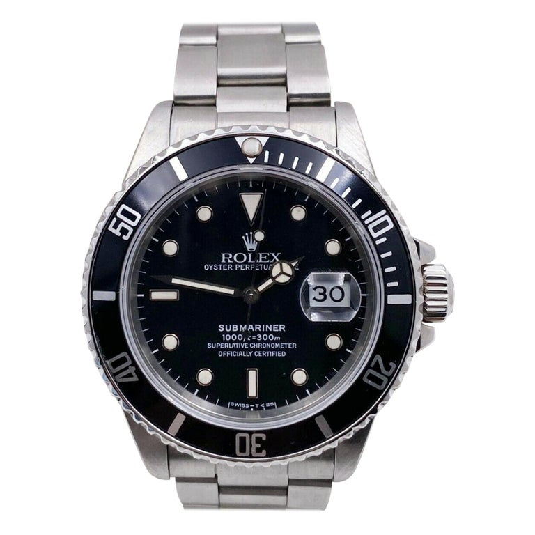 Rolex Submariner 16800 Black Spider Web Dial Stainless Steel For Sale