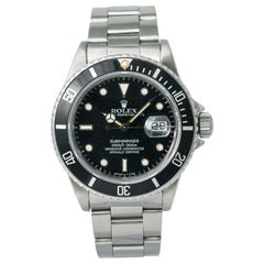 Rolex Submariner 16800 Men's Automatic Watch Patina Black Dial with Paper