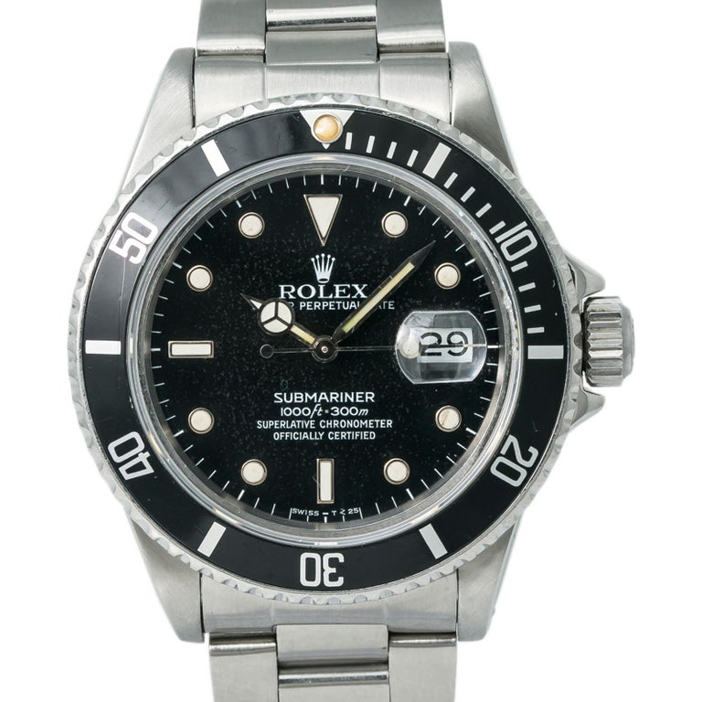 Rolex Submariner 16800 Men's Automatic Watch Stainless Steel Black Dial 40MM