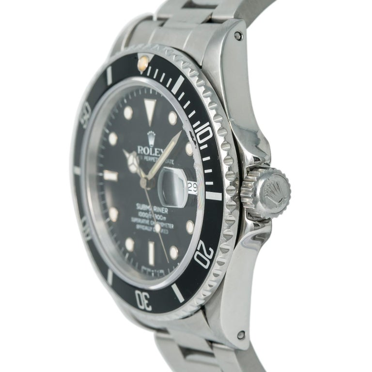 Contemporary Rolex Submariner 16800 Men's Automatic Watch Stainless Steel Black Dial For Sale