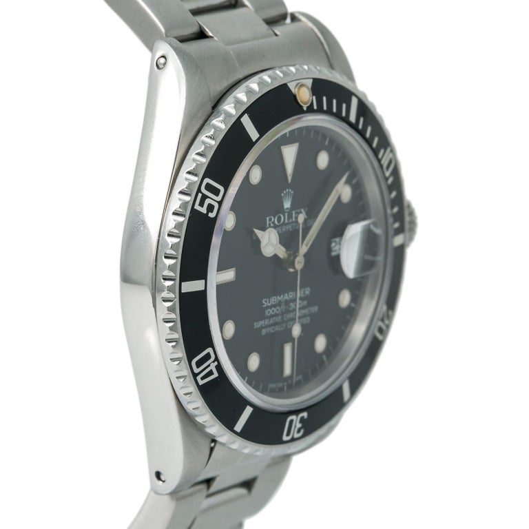 Rolex Submariner 16800 Men's Automatic Watch Stainless Steel Black Dial In Good Condition For Sale In Miami, FL