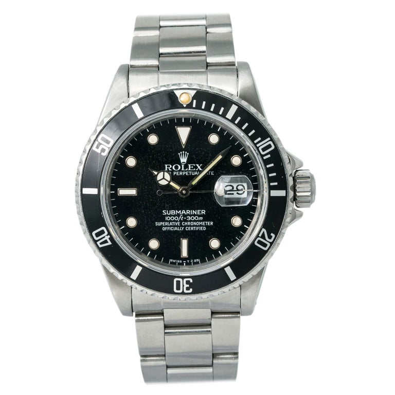 Rolex Submariner 16800 Men's Automatic Watch Stainless Steel Black Dial For Sale