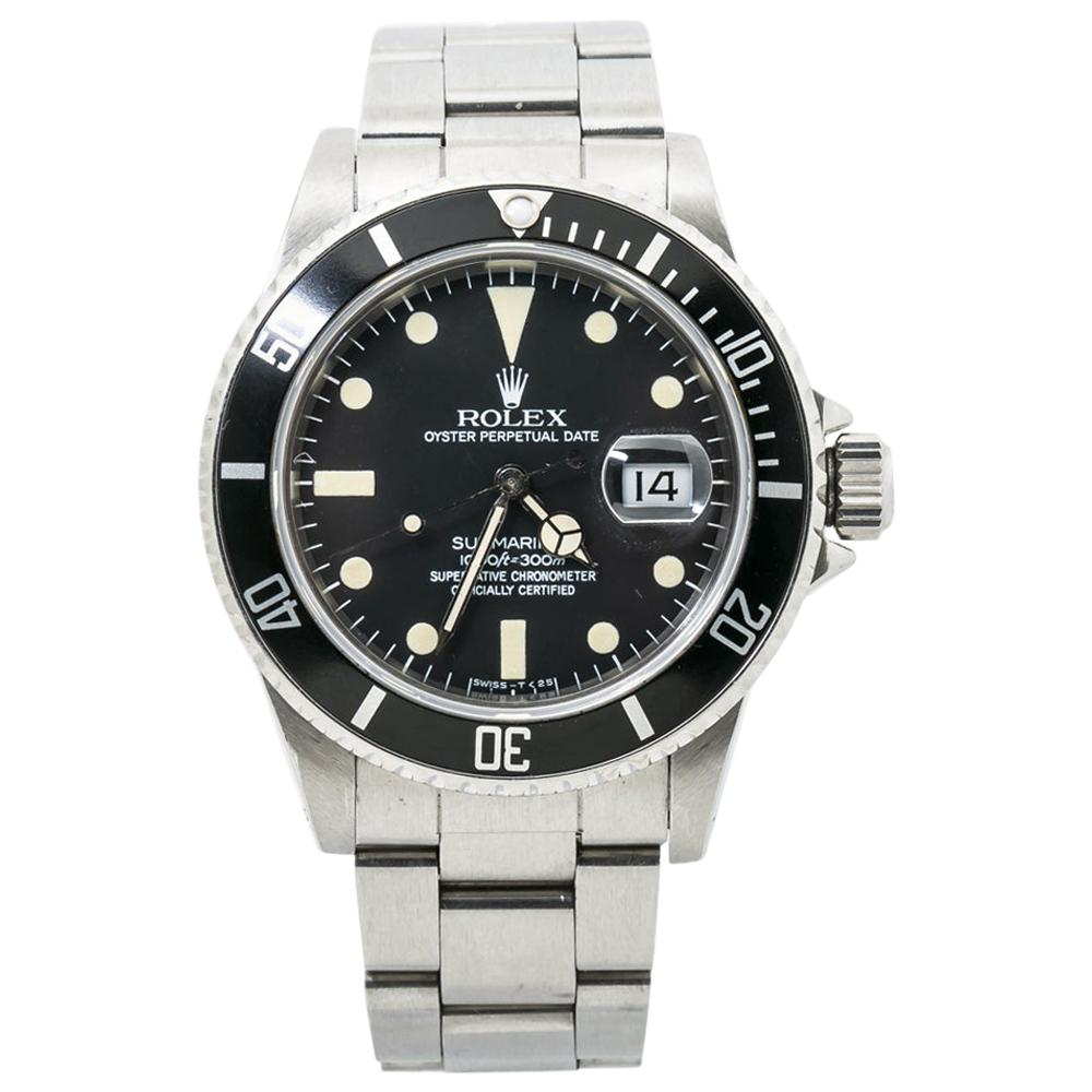 Rolex Submariner 16800 Vintage Mens Watch Stainless Patina Matte Dial