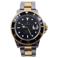 Rolex Submariner 16803 Black Dial 18K Yellow Gold Stainless Steel Box Papers