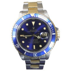 Rolex Submariner 16803 Blue 18 Karat Yellow Gold and Stainless Steel