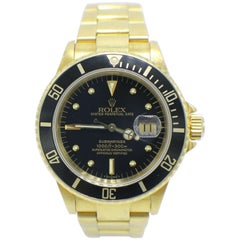 Rolex Submariner 16808 18 Karat Yellow Gold Black Gilt Nipple Dial Very Rare