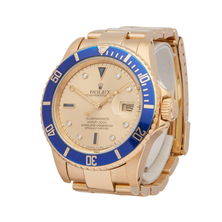 Xupes Reference: W007183 Manufacturer: Rolex Model: Submariner Model Variant:  Model Number: 16808 Age: 1984 Gender: Men Complete With: Rolex Box  Dial: Gold Serti Glass: Sapphire Crystal Case Size: 40mm Case Material: Yellow Gold Strap Material:
