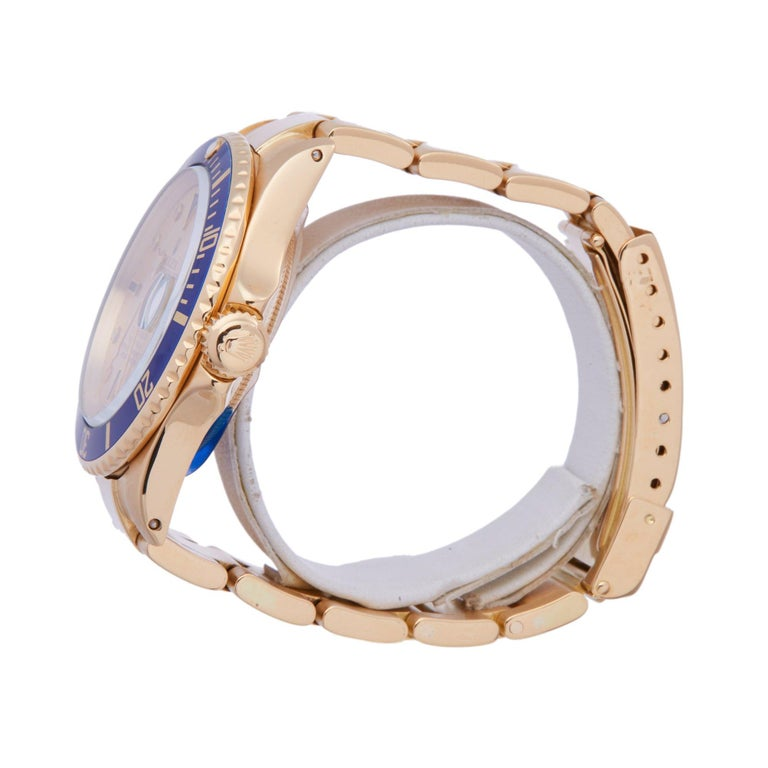 Rolex Submariner 16808 Men's Yellow Gold Serti Diamond Watch In Good Condition In Bishops Stortford, Hertfordshire