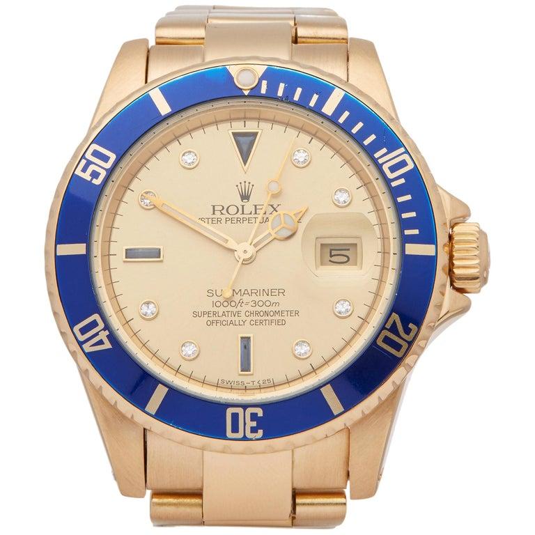 Rolex Submariner 16808 Men's Yellow Gold Serti Diamond Watch