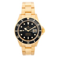 Rolex Submariner 18 Karat Gold Men's Watch 16618 Black Dial