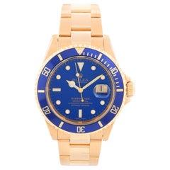 Rolex Submariner 18 Karat Gold Men's Watch 16618 Blue Dial