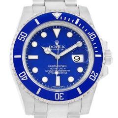 Rolex Submariner 18 Karat White Gold Blue Dial Ceramic Bezel Watch 116619
