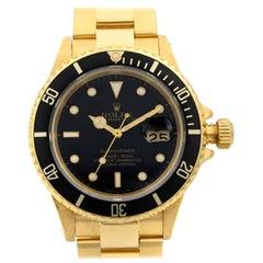 Rolex Submariner 18 Karat Yellow Gold Black Dial Automatic Men's Watch 16618