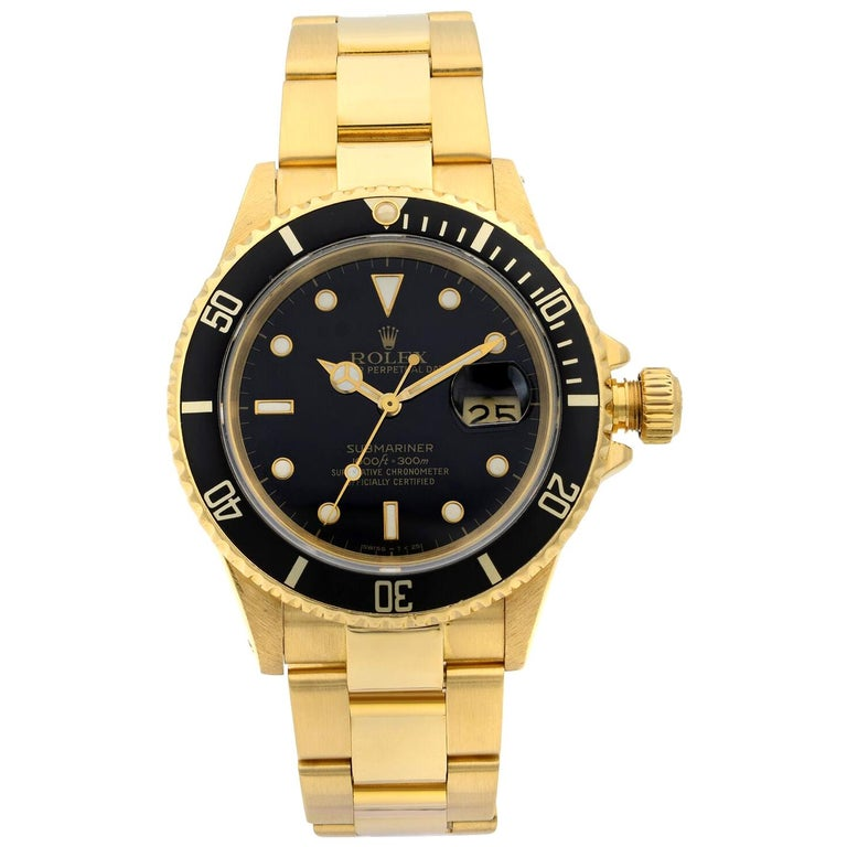 Rolex Submariner 18 Karat Yellow Gold Black Dial Automatic Men's Watch 16618 For Sale