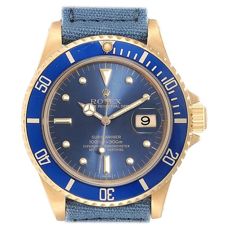 Rolex Submariner 18 Karat Yellow Gold Blue Dial Men's Watch 16808