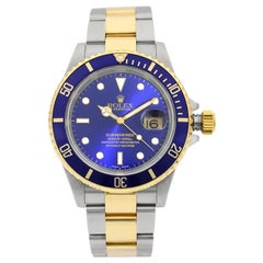 Rolex Submariner 18k Gold Steel Holes Blue Dial Automatic Mens Watch 16613