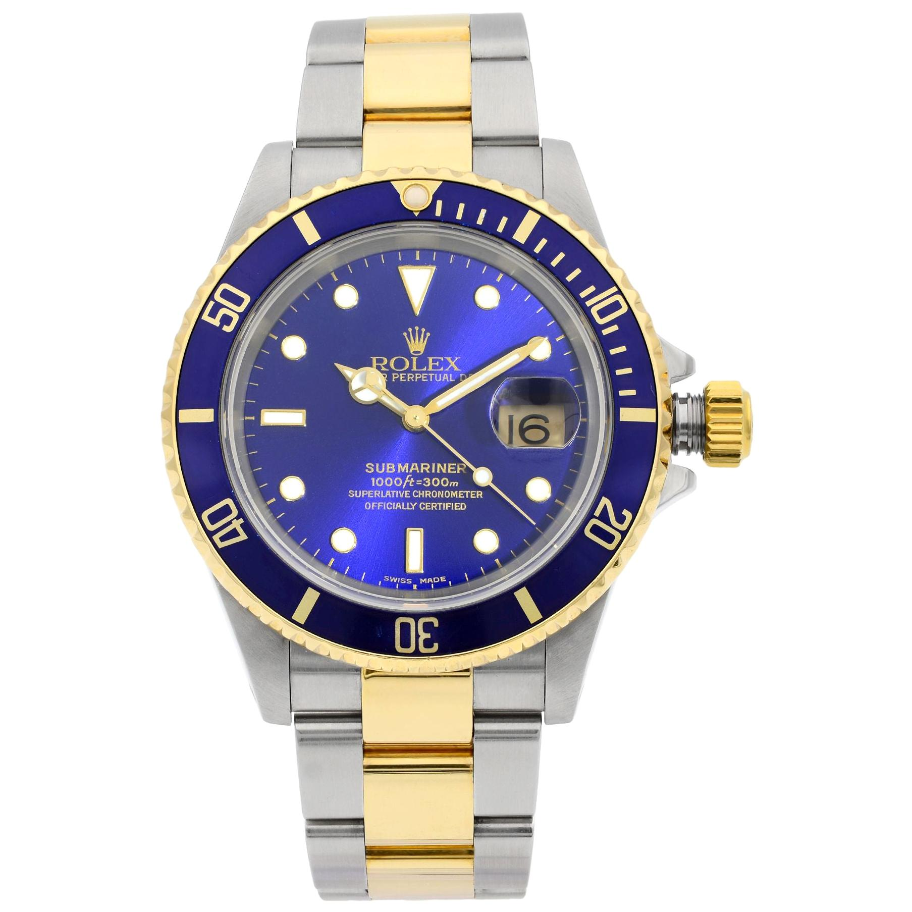 Rolex Submariner 18K Gold Steel No Holes Blue Dial Automatic Men's Watch 16613