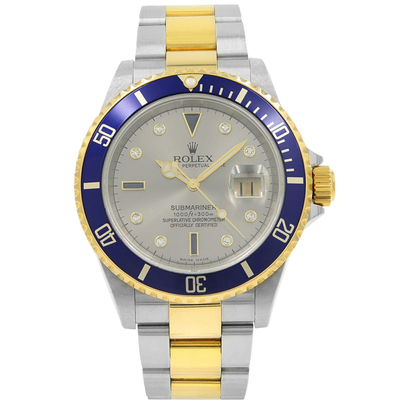 Rolex Submariner 18K Gold Steel No Holes Gray Serti Diamond Dial Watch 16613T
