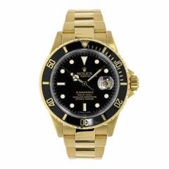 Rolex Submariner 18 Karat Yellow Gold Black Dial Watch 16618
