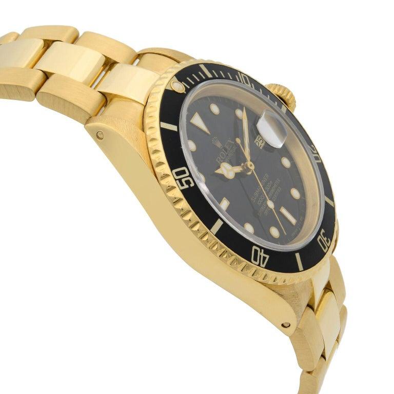 Men's Rolex Submariner 18 Karat Yellow Gold Black Dial Automatic Men's Watch 16618 For Sale