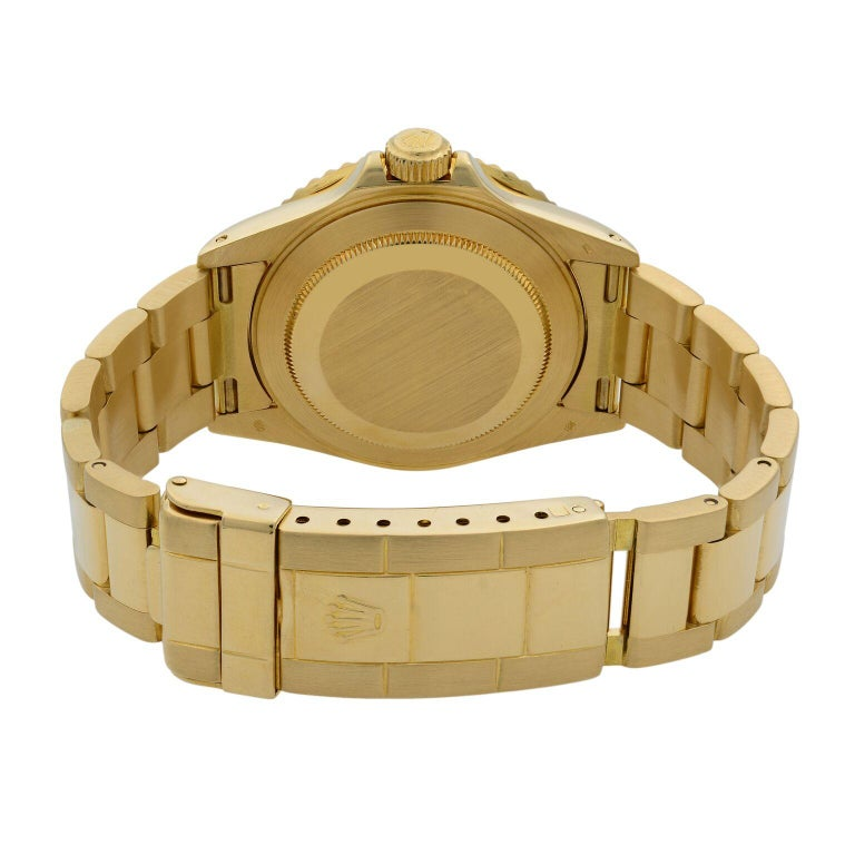 Rolex Submariner 18 Karat Yellow Gold Black Dial Automatic Men's Watch 16618 For Sale 2