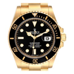 Rolex Submariner 18k Yellow Gold Black Dial Bezel Mens Watch 126618