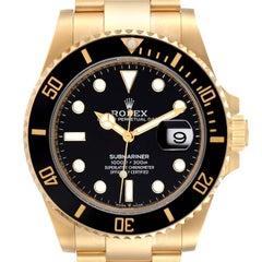 Rolex Submariner 18k Yellow Gold Black Dial Bezel Mens Watch 126618 Unworn
