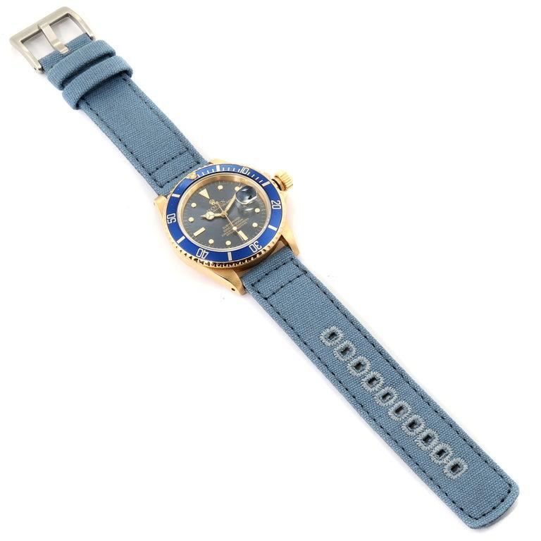Rolex Submariner 18 Karat Yellow Gold Blue Dial Men's Watch 16808 8